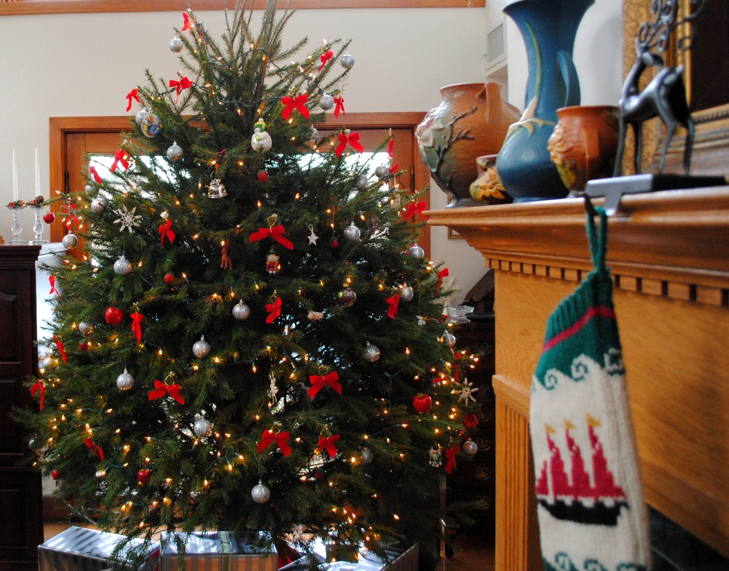 the christmas tree and stocking