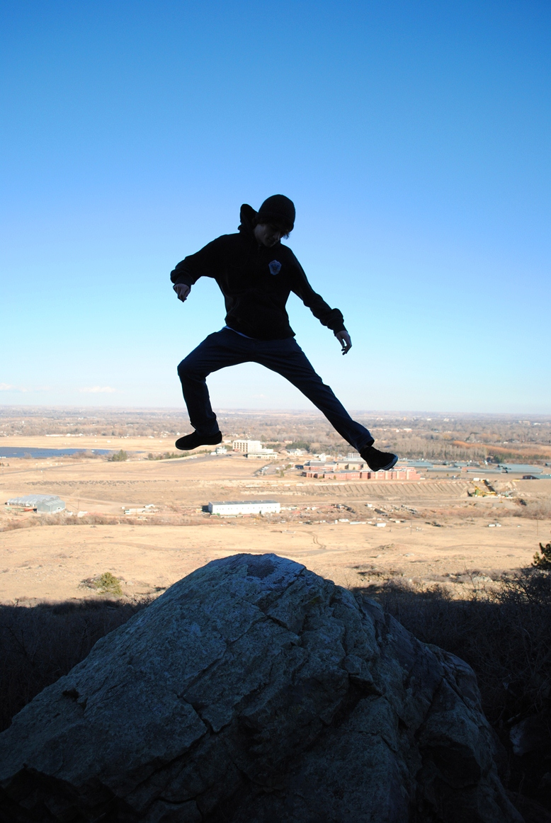 jumping on the rock